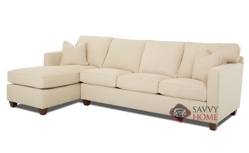 Jersey fabric chaise sectional by savvy is fully for Sectional sleeper sofa nj