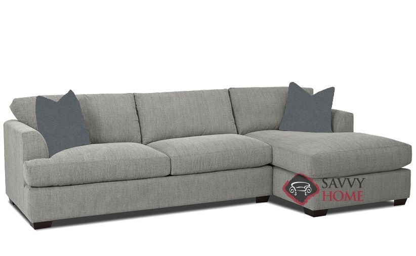 Berkeley Queen Chaise Sectional Sleeper Sofa By Savvy In Brookside Grey
