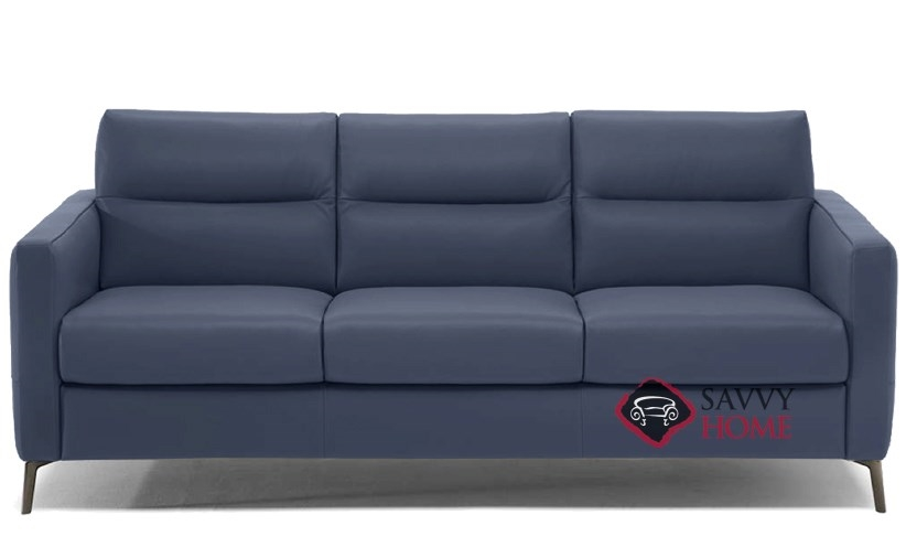 Quick-Ship Caffaro Leather Sleeper Sofas Queen in Le Mans Navy ...