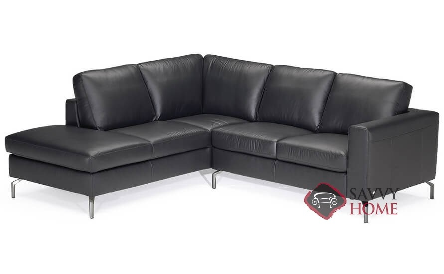 Vara (B845) Leather Stationary Chaise Sectional by Natuzzi is Fully ...