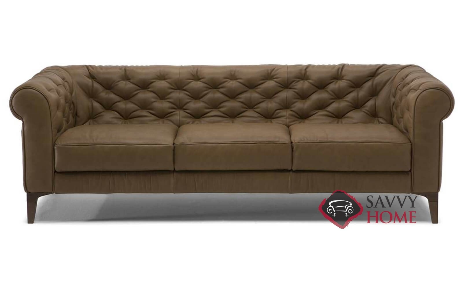 Taglia C005 Leather Stationary Sofa By Natuzzi Is Fully