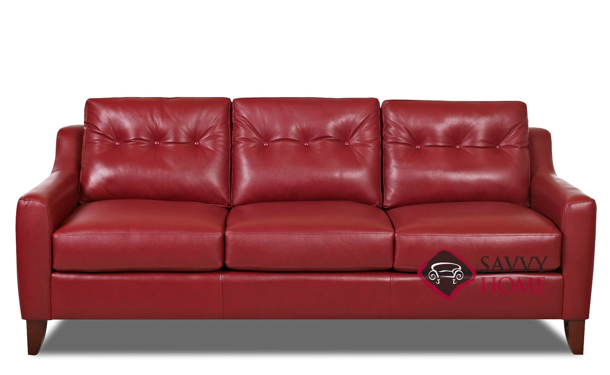 Austin Leather Stationary Sofa By Savvy Is Fully