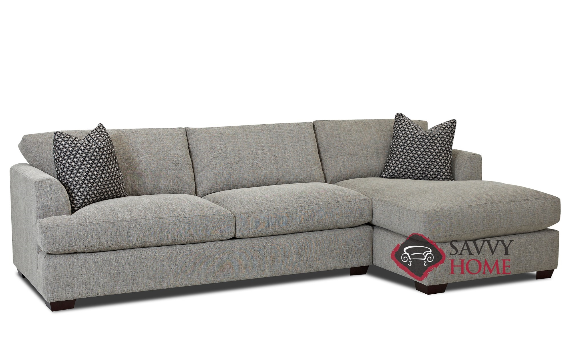 Berkeley Chaise Sectional Sofa by Savvy with Down-Blend Cushions