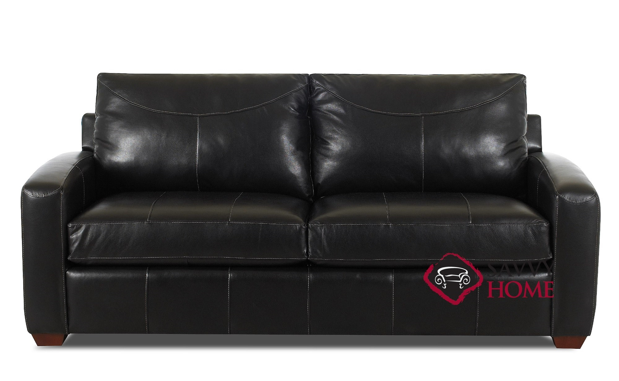 Quick-Ship Boulder Leather Sleeper Sofas Full in Durango Black by Savvy  with Fast Shipping | SavvyHomeStore.com