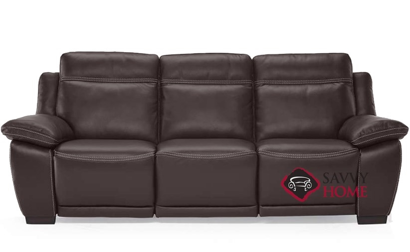 Ottimista Power Reclining Leather Sofa By Natuzzi Editions In Denver Dark  Brown (B875 155)
