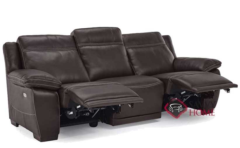 ... Ottimista Power Reclining Leather Sofa By Natuzzi Editions In Denver  Dark Brown (B875 155