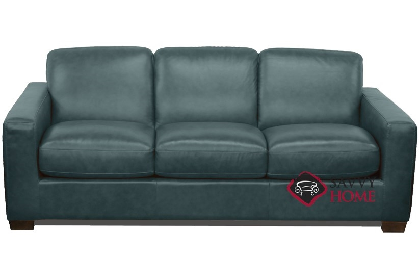 Quick-Ship Rubicon (B534) Leather Sleeper Sofas Queen in Neptune Lagoon by  Natuzzi with Fast Shipping | SavvyHomeStore.com