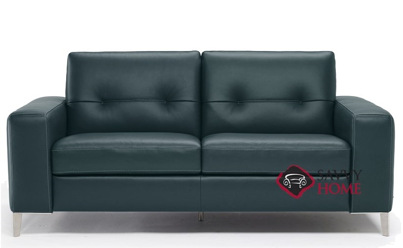 Po B883 264 Full Leather Sleeper Sofa By Natuzzi Editions In Neptune Lagoon