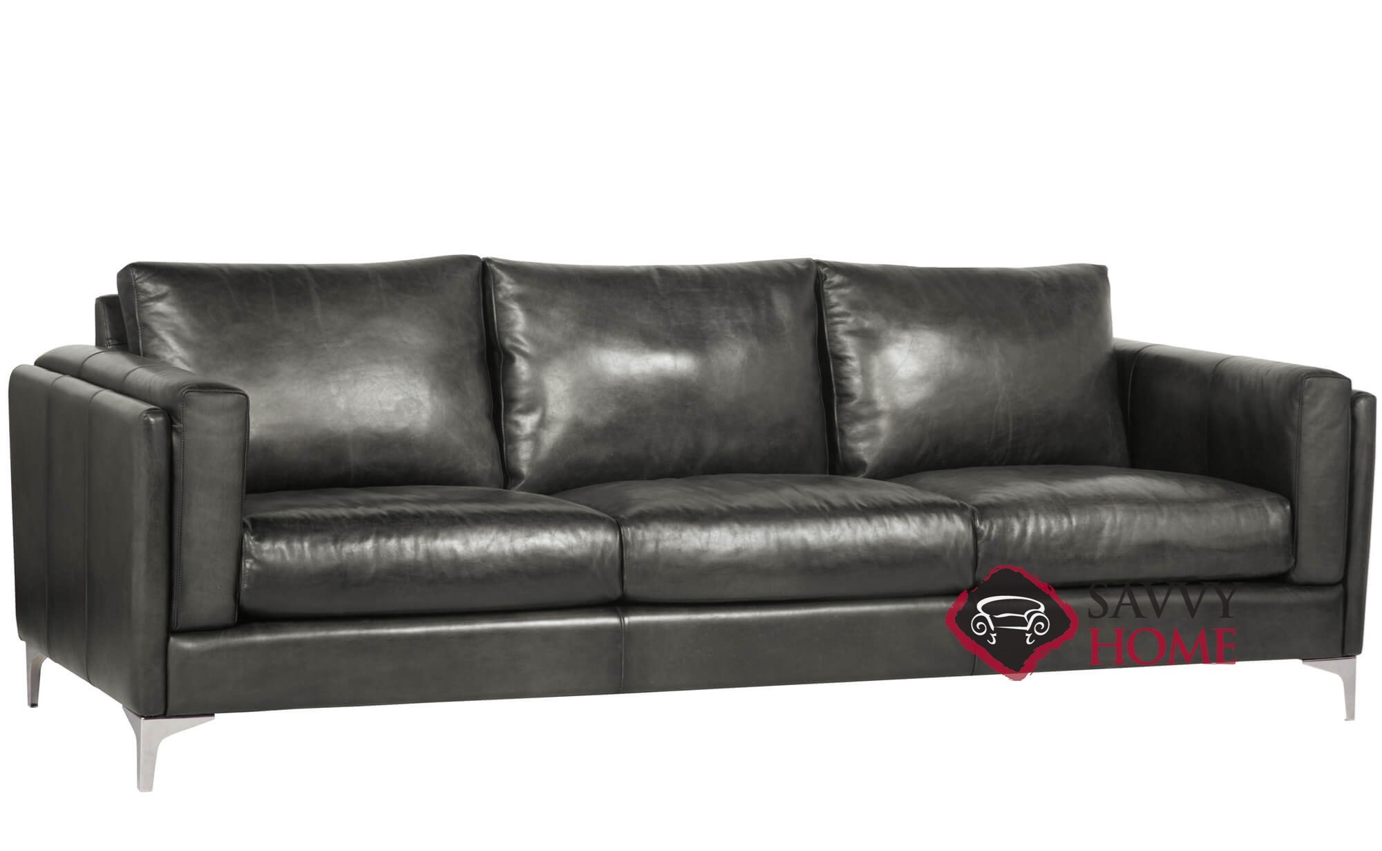 Quick-Ship Malcolm By Bernhardt Leather Stationary Sofa In