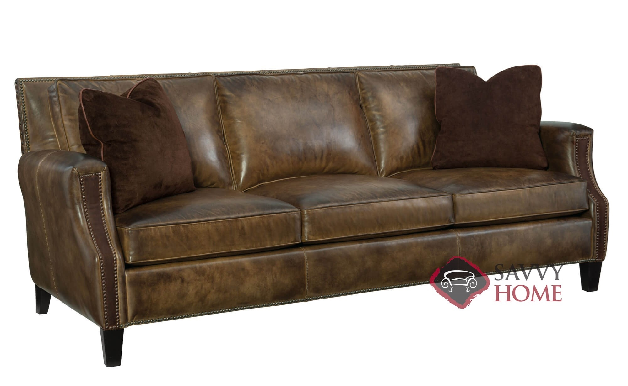 Normandy Leather Sofa With Down Blend Cushions By Bernhardt In 138 062