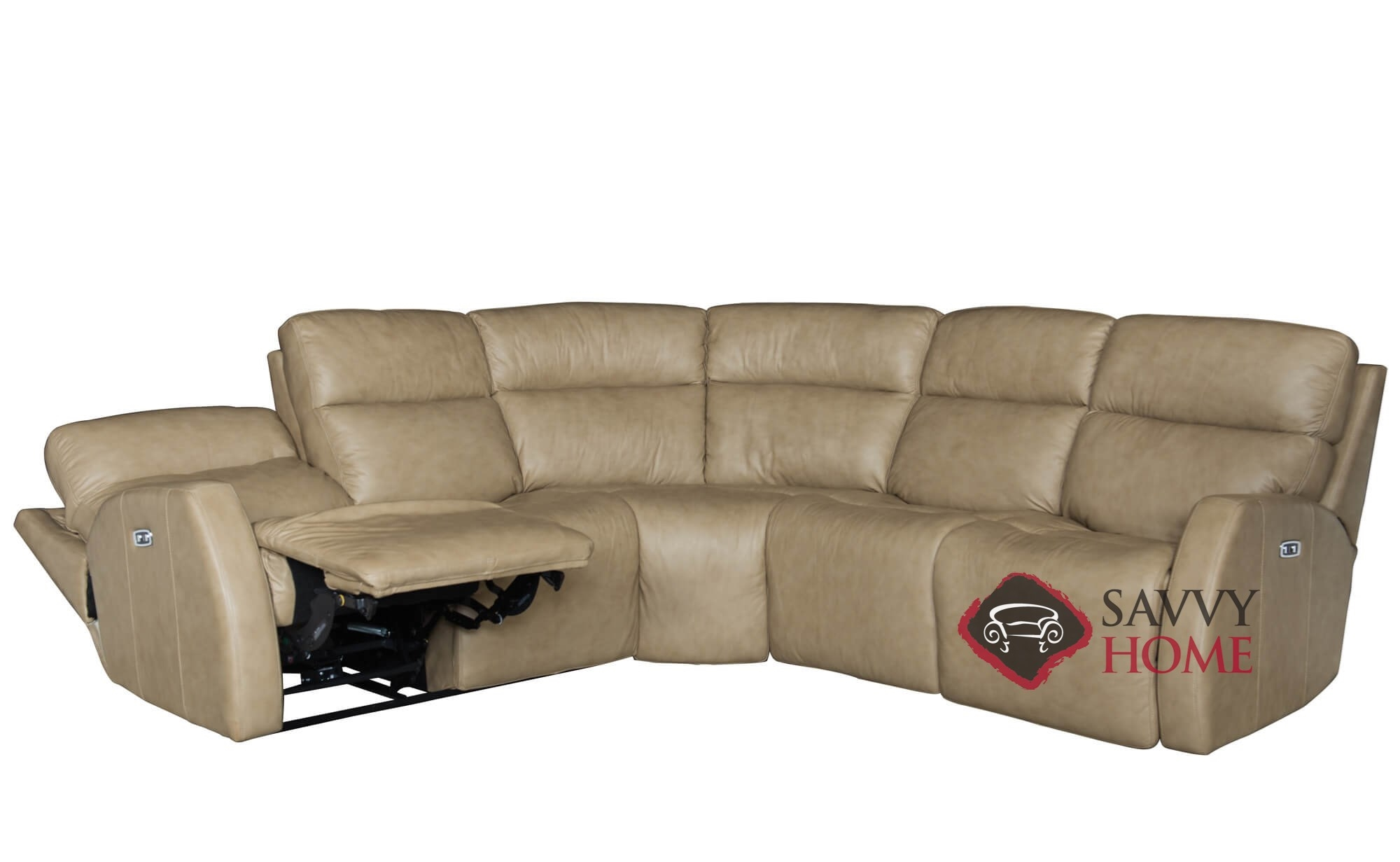 Quick ship aaron by bernhardt leather true sectional in by for Sectional sofa down cushions