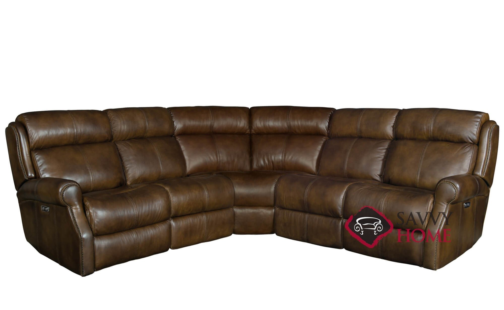 Mcgwire Reclining Leather True Sectional Sofa With Down Blend Cushions By Bernhardt In 232 202