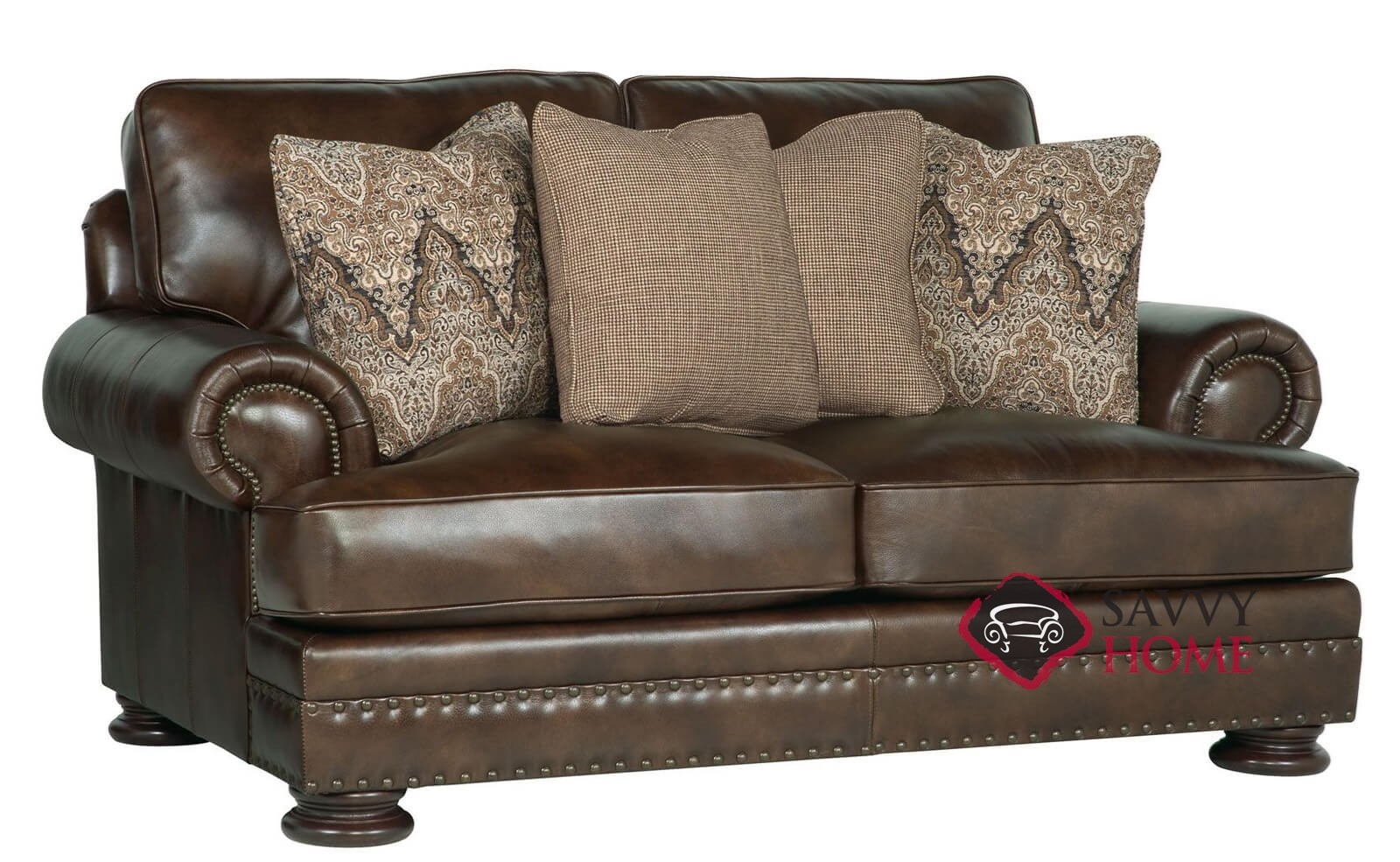 Charmant Foster Leather Loveseat With Down Blend Cushions By Bernhardt In 266 220