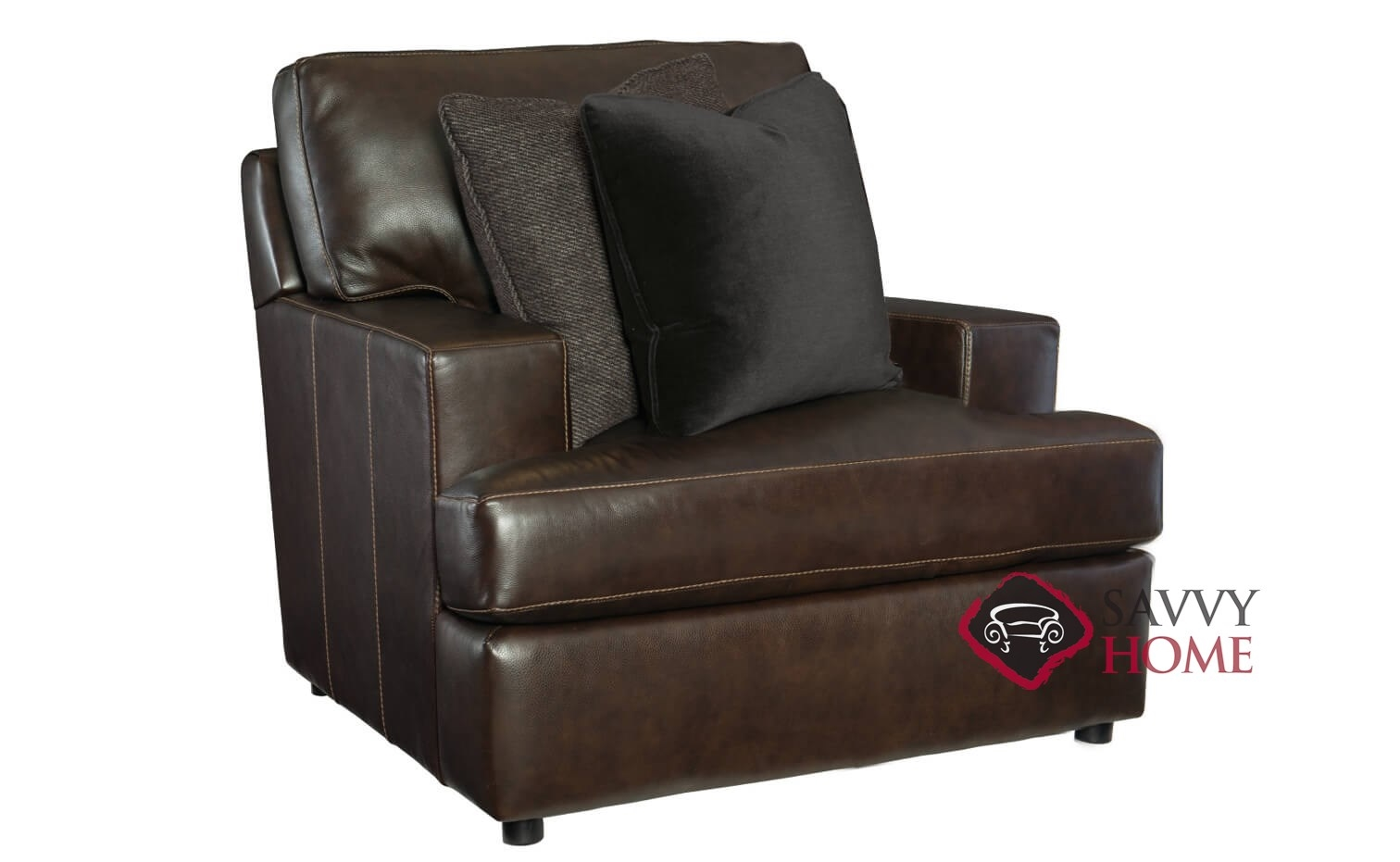 Winslow Leather Chair With Down Blend Cushion By Bernhardt In 266 222