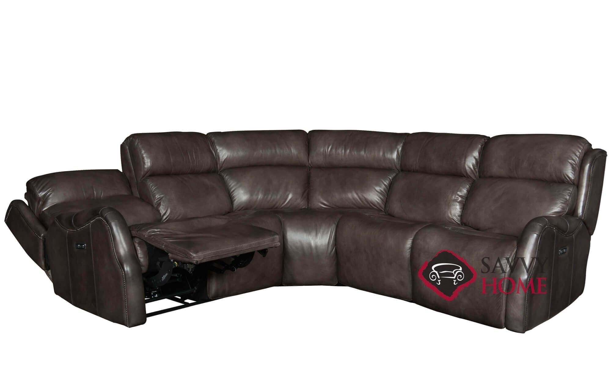 Quick ship derek by bernhardt leather true sectional in by for Bernhardt leather sectional sofa prices