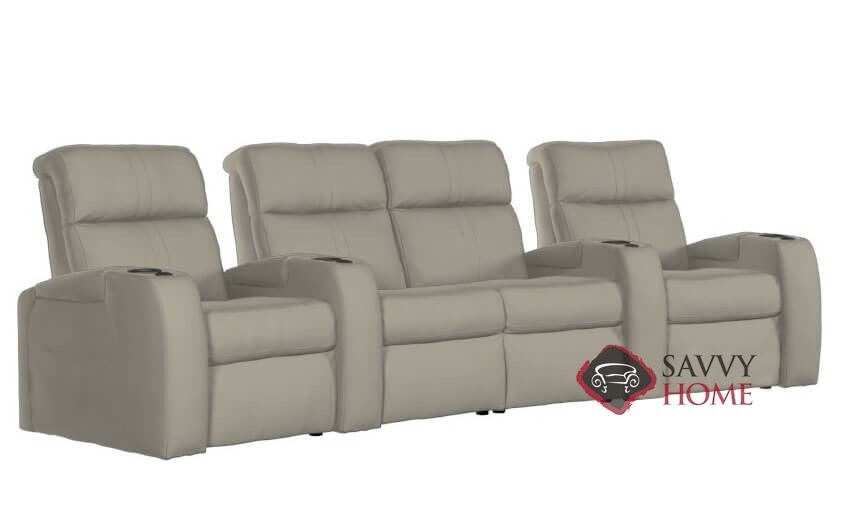 Flicks 4-Seat Top-Grain Leather Power Reclining Home Theater Seating  (Curved) with Loveseat and Console by Palliser