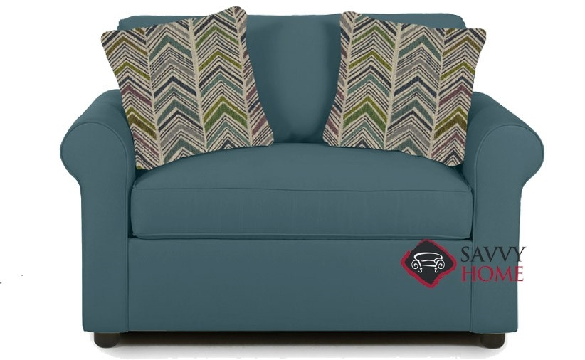 Quick Ship Ottawa Fabric Sleeper Sofas Chair In Lily Peacock By