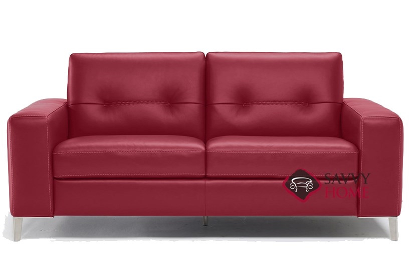 Po B883 264 Full Leather Sleeper Sofa By Natuzzi Editions In Denver Red