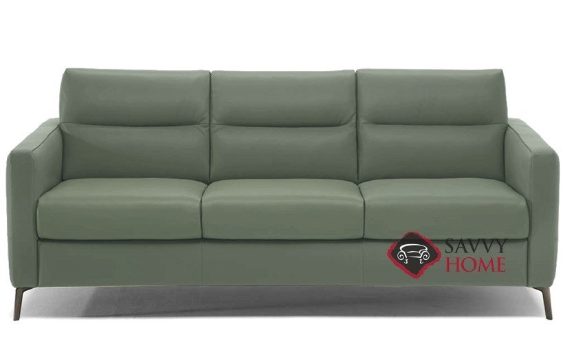 Caffaro C008 266 Queen Leather Sleeper Sofa By Natuzzi Editions In Neptune Sage
