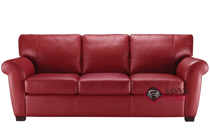 Quick-Ship Allaro (A121) Leather Stationary Sofa in Denver Red by Natuzzi  with Fast Shipping   SavvyHomeStore.com