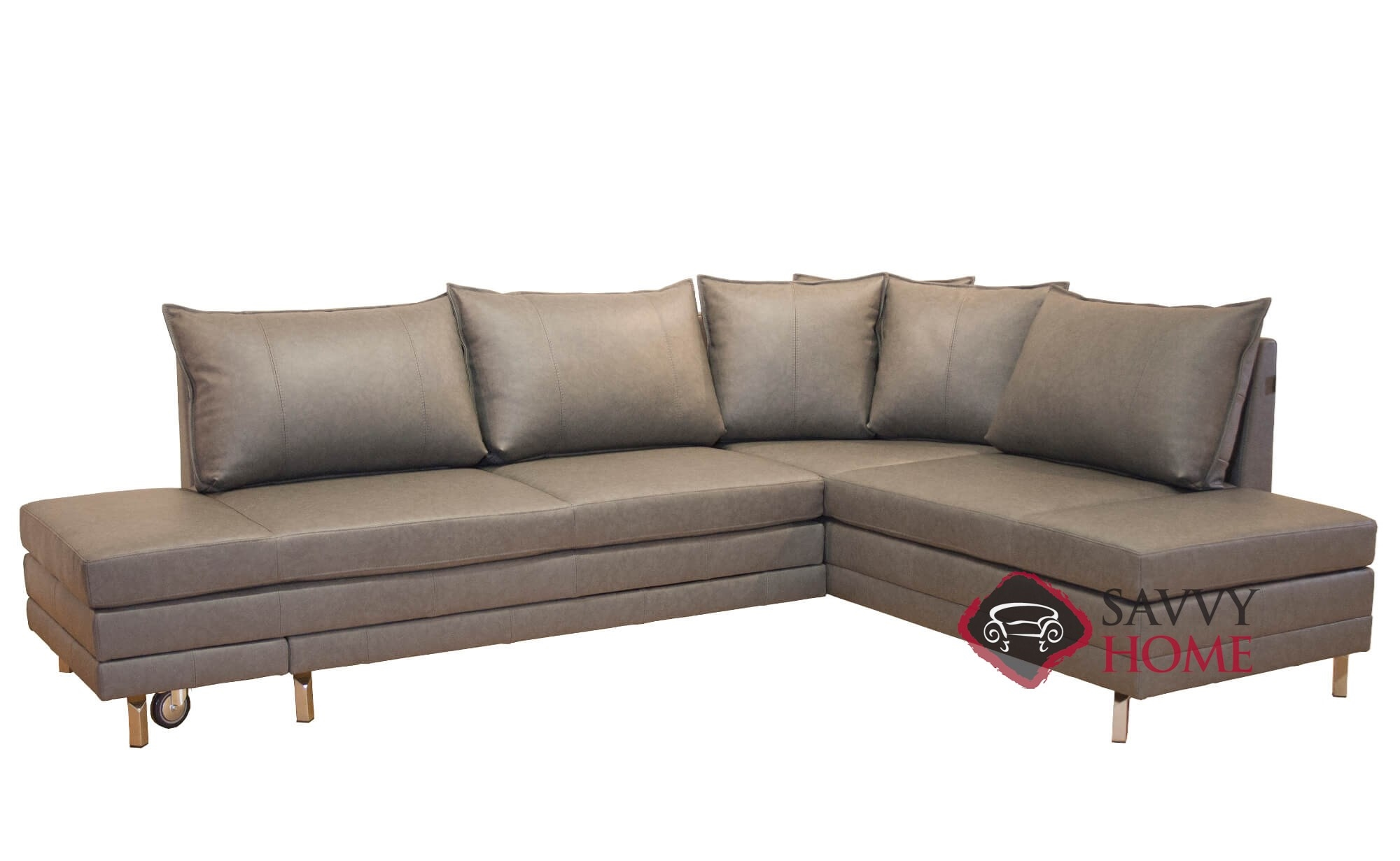 Curry Chaise Sectional Queen Leather Sofa Bed by Luonto