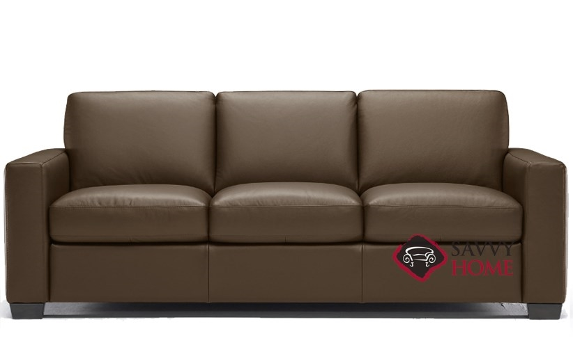 Quick-Ship Rubicon (B534) Leather Sleeper Sofas Queen in Neptune Copper  Brown by Natuzzi with Fast Shipping | SavvyHomeStore.com