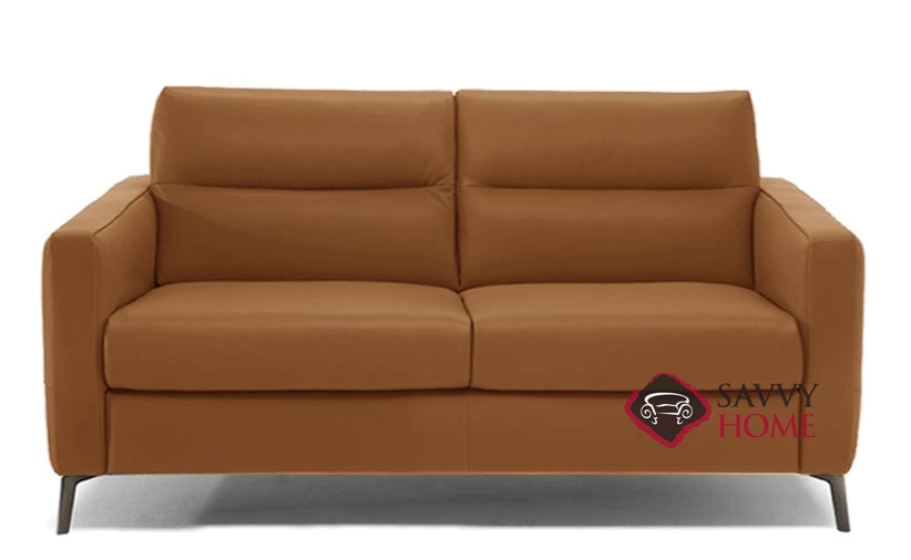Caffaro C008 264 Full Leather Sleeper Sofa By Natuzzi Editions In Urban Camel