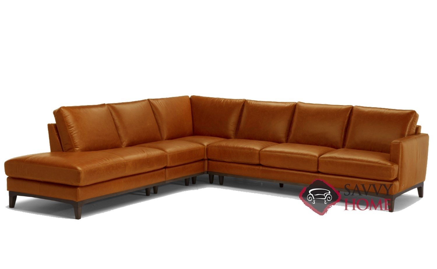 Quick-Ship Bevera Leather Stationary Chaise Sectional in ...