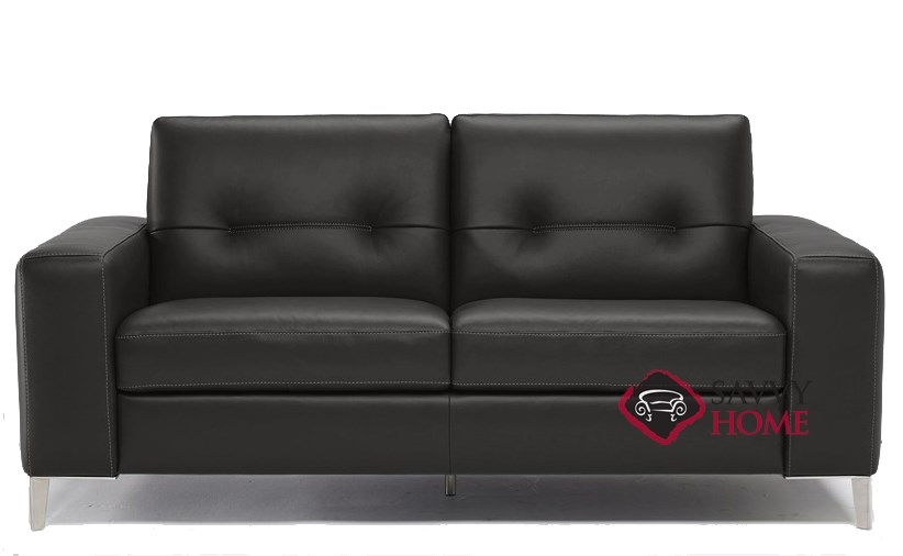 Quick-Ship Po (B883) Leather Sleeper Sofas Full in Denver Black by Natuzzi  with Fast Shipping | SavvyHomeStore.com