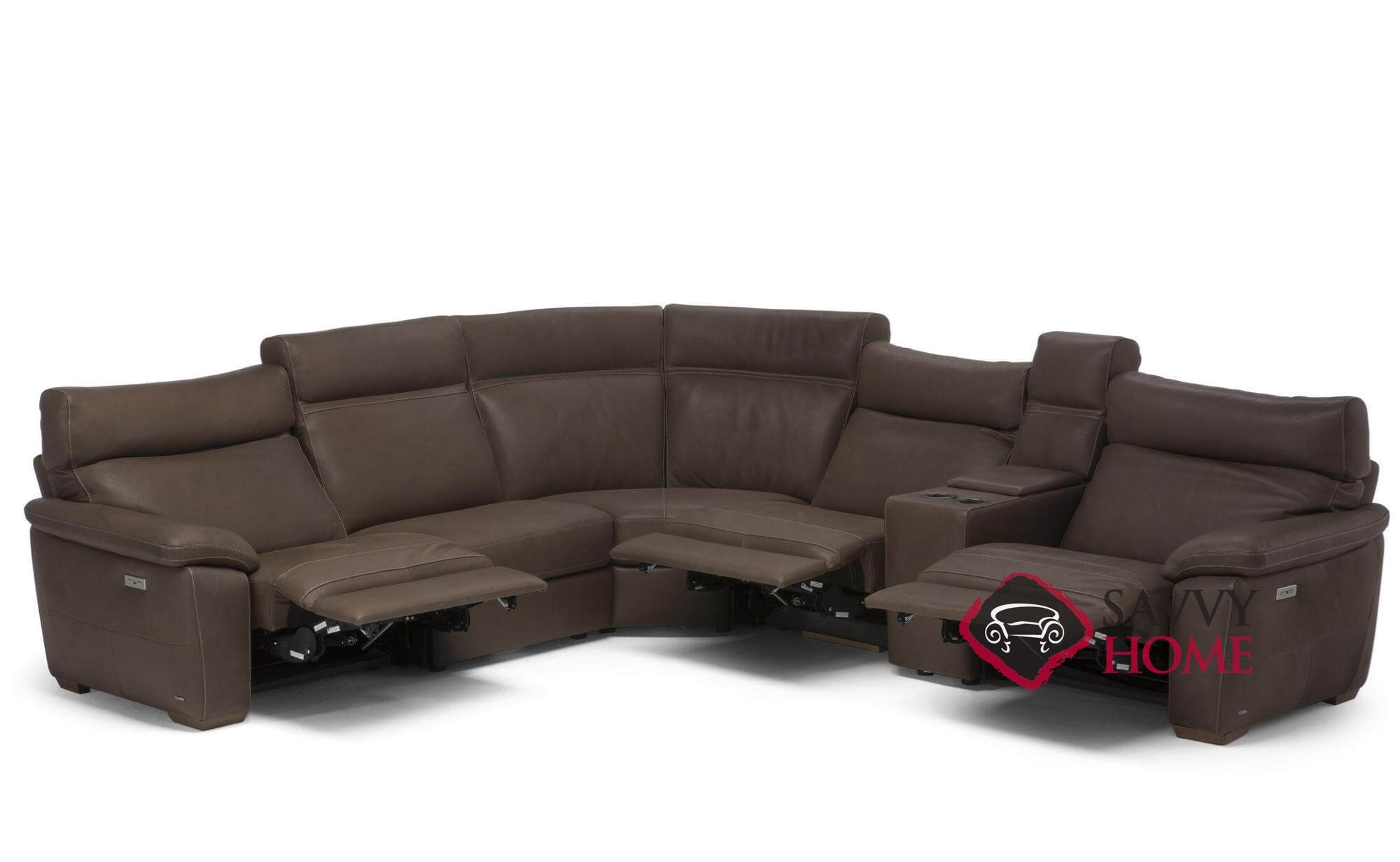 Empatia (C007-514/291/029/291/323/515) Power Reclining Leather True  Sectional Sofa with Console by Natuzzi